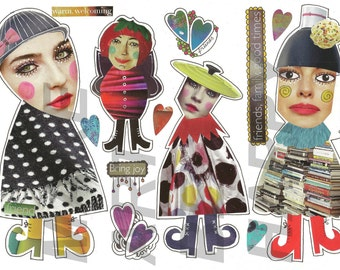 Collage sheet, journal sheet, quirky characters, mixed media dolls nr D04