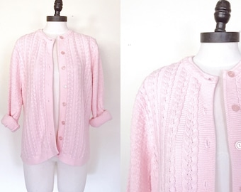 40% OFF SALE 1960s / 1970s Blush Pink Cable Knit Cardigan | Size Small - Large | 60s 70s Vintage Sweater | Midcentury Long Sleeve Cardi