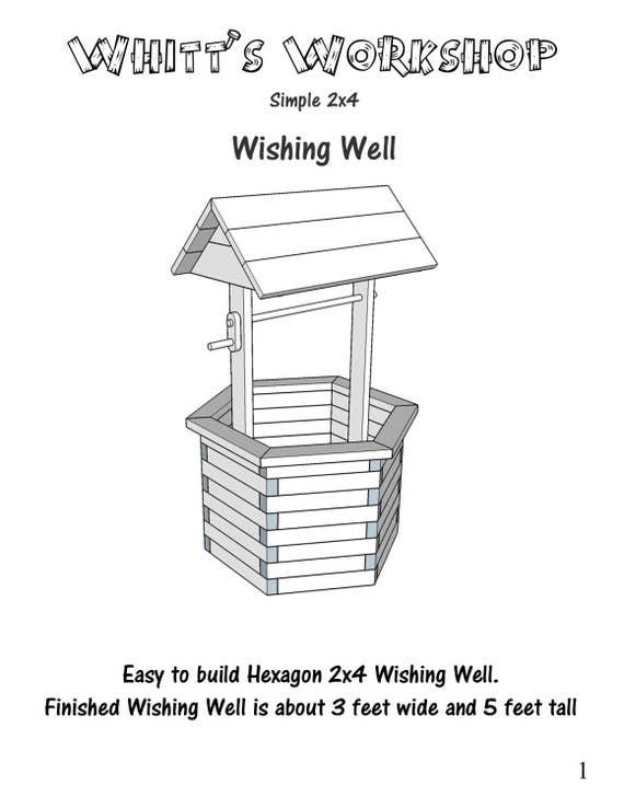Hexagon 2x4 wishing well wood plans pdf file blueprint malvernweather Images