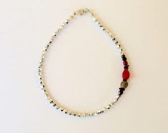 Silver and Red Glass Beaded Anklet 10 5/8 Inches