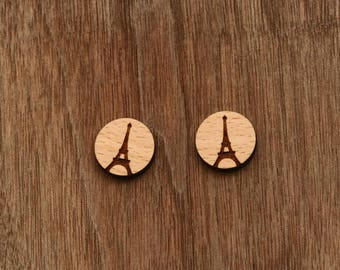8 pcs Eiffel Tower Wood Charm, Carved, Engraved, Earring Supplies, Cabochons (WC 267)