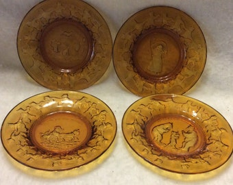 Indiana amber glass Nursery Rhymes plates. Free ship to US.