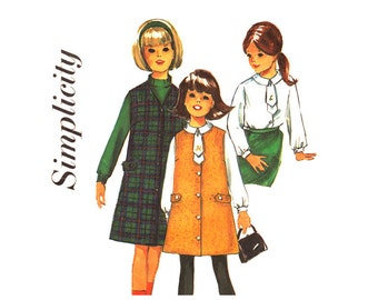 Girls Jumper & Blouse Pattern Simplicity 6155 Sleeveless Dress Girls Size 6 Vintage Sewing Pattern