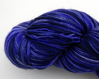 Hand dyed purple violet and blue 100% merino superwash sock yarn