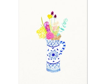 Blue and White Vase of Flowers.  Archival print of my original watercolor painting.