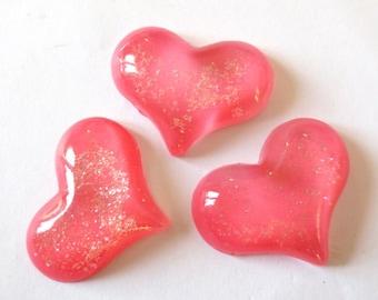 1 x cabochon embellishment resin 30mm FUCHSIA sequin heart