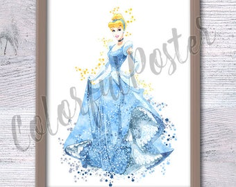 Cinderella Disney Print Princess Watercolor, Cinderella Wall Art, Disney princess  Nursery Decor fairy tale wall art, princess poster  V84