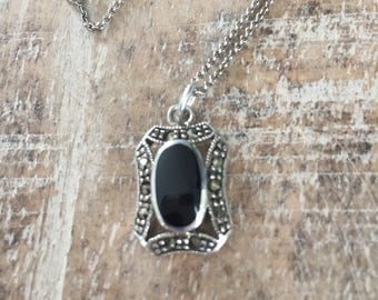 Vintage Onyx Marcasite Sterling Silver Antique Style Pendant with Sterling Silver Necklace