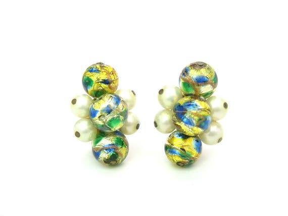 Vintage Hattie Carnegie Faux Pearl & Venetian Foil Glass Earrings