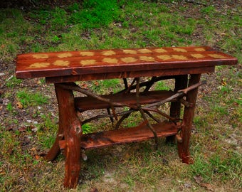 Rustic TV Stand Console Sofa Table with shelf Log Cabin Furniture by J. Wade FREE SHIPPING