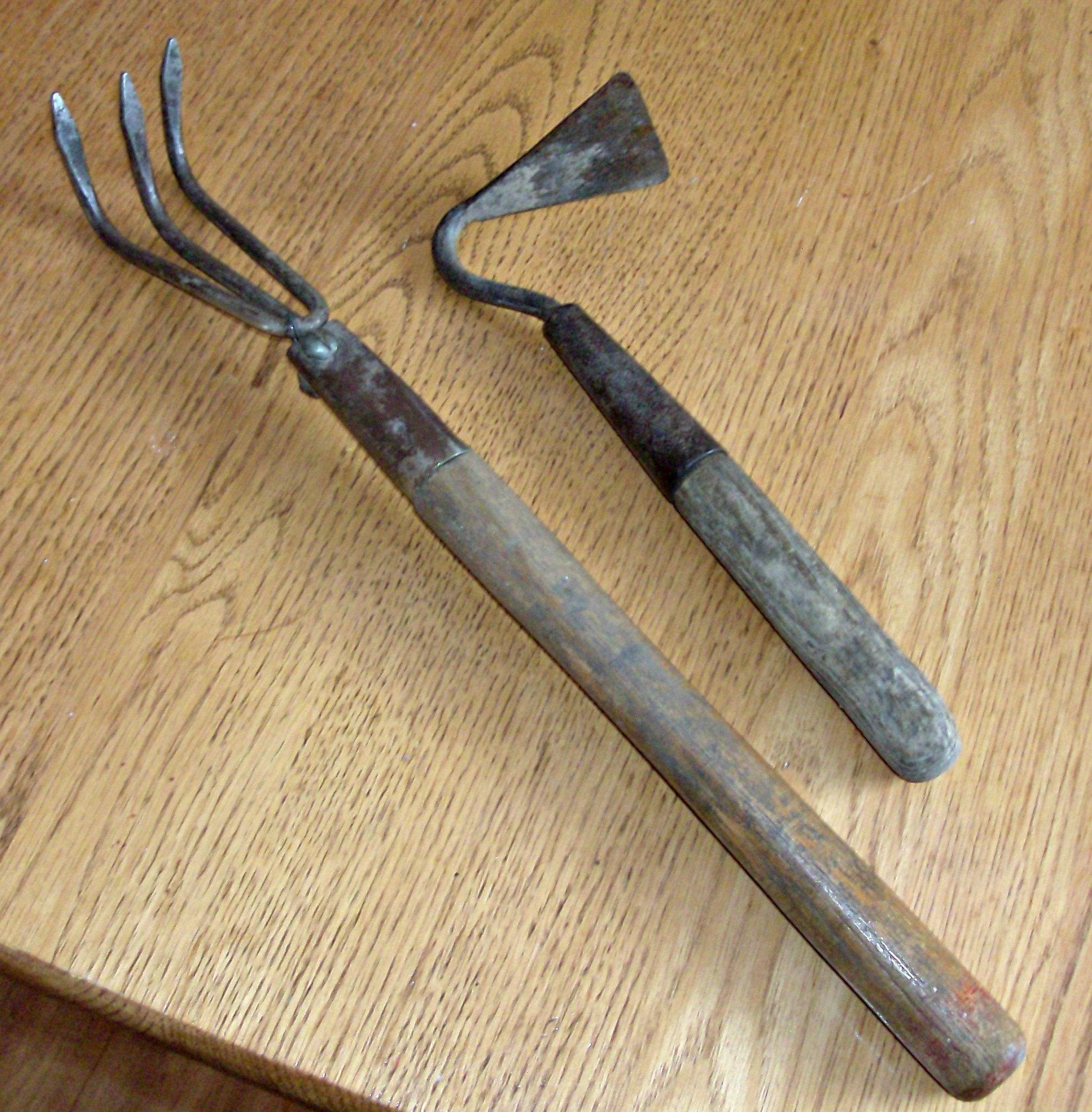 Lot of 2 Vintage Wood Handle Garden Tools