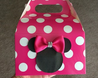Hot pink Mouse Birthday Favor Boxes