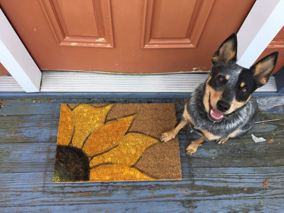 Outdoor Rug   Sunflower Doormat   Hand Painted Rug   Outdoor Doormat   Bohemian Rug   Primitive Rug by Etsy