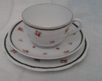 Vintage Porcelain Trio in pink rose pattern