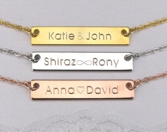 Gold Bar Necklace Engraved with Names – Also Available in Silver and Rose Gold Plated – Great Personalized Gift