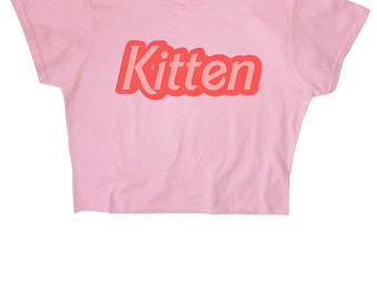 FREE UK Shipping Kitten Crop Top ∘ 90s Grunge ∘ 70s ∘ Retro ∘ Kawaii ∘ Pastel ∘ Baby Blue Pink ∘ Anime ∘ Womens Ladies ∘ S M L XL 2XL