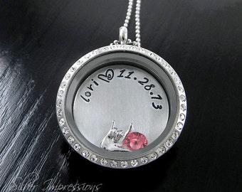 Personalized Floating Locket / Mom Locket / Floating Locket / Hand Stamped Jewelry