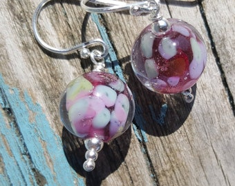 Glass & Silver Earrings.  Lampwork Earrings  SRAJD FHFteam
