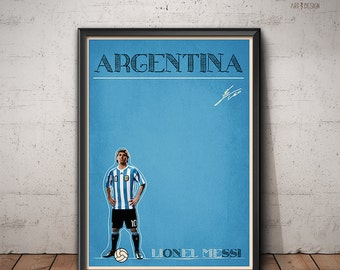 Lionel Messi Retro Poster - Argentina - Barcelona Poster - Football Today Series - Print, Wall Art