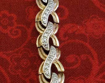 "BR-029: 14.5g Vintage Solid Silver Genuine Diamond Hinged Wavy Swirl Link Bracelet 7.4"" Sterling with Safety Clasp"