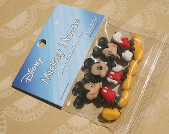 "Disney Buttons - Mickey Mouse Buttons - Sewing Bulk Button - 1 1/2"" Tall - 3 Shank Buttons"