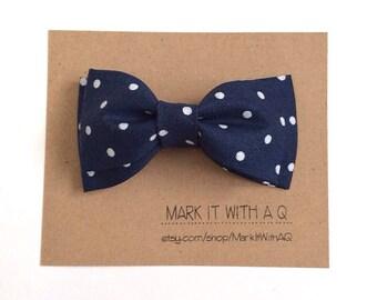 Navy Polka Dot Bow tie