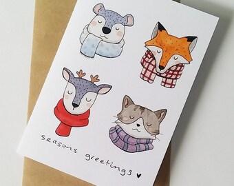 handmade christmas cards - christmas card set - greeting cards - holiday greetings - cute christmas card - seasons greetings