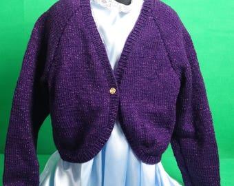 Child's sweater/ cardigan dark purple bolero style for 9-10 year old