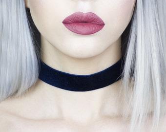 Navy Blue Lux Velvet Wide Choker - Necklace