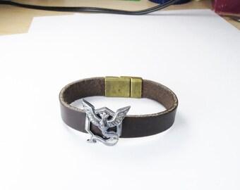 Sterling Silver made Pokemon Go Inspired leather strap bracelet- Team Mystic