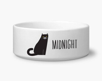 Personalize cat bowl, Black cat food bowl, personalized custom name, ceramic, dishwasher and microwave safe