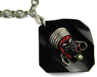 Selro  Asian Princess Necklace/  Huge Black Square Bakelite Pendant/  Silver Tone Double Link  Necklace