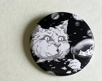 Bubble Blowing Cloud Cat 2.25 Inch Magnet - Black, Fridge Magnet, Refrigerator Magnets, Cat Magnet, Kitten Magnet, Cat Artwork