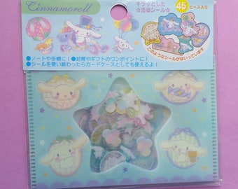 Cinnamoroll Sanrio Sticker Flakes Pack - Pastel Blue Rabbit Bunny Unicorn - Folder - Scrap book - Card Making - Crafting - Kawaii Stickers