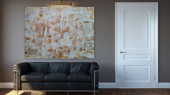 "Large abstract painting gold and white modern  by Marcy Chapman custom order ready to hang acrylic abstract 40 x 30 ""Have It Your Way"""