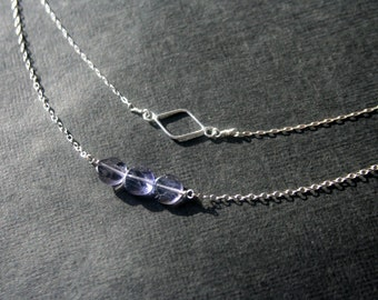 Tiny open diamond sterling silver necklace