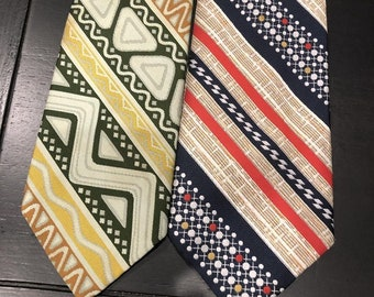 """Vintage 70's Poly Necktie Lot of Two Ultra Wide """"Oleg Cassini"""" & """"the Treasury"""" Minty Fresh"""