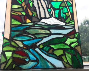 Mountain Waterfall Lake Nature Stained Glass Window Suncatcher