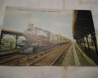 Vintage 1910 Postcard Upper  Sandusky Ohio Pennsylvania Train, No. 9