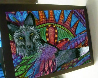 greeting card print of original art-  black fox zentangle spirit animal