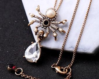 Statement necklace, Gemstone necklace, Crystal necklace, Pendant necklace - Spider