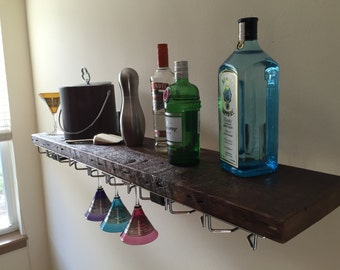 Reclaimed Wood Bar Shelf & Stemware Rack