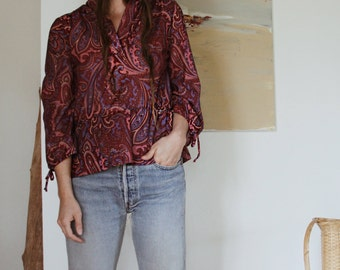 70s  Bohemian Paisley Blouse | Authentic 70s Vintage Hippie Paisley Top |