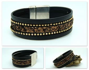 Black and bronze leather Cuff Bracelet