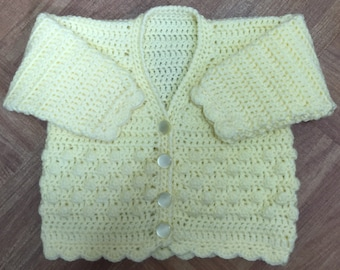 Printed Baby Crochet Cardigan Pattern in DK. Sizes: Birth to 6 years (1002)