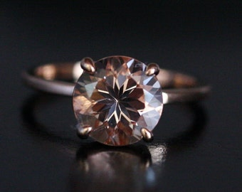 Pink Morganite Round 9mm Solitaire in 14k Rose Gold Engagement Ring (Also available in White OR Yellow Gold)