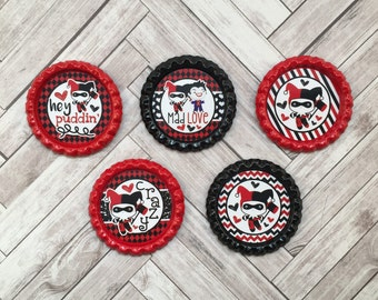 5 Harley Quinn Joker Puddin Crazy Finished Colored Flattened Bottle Caps