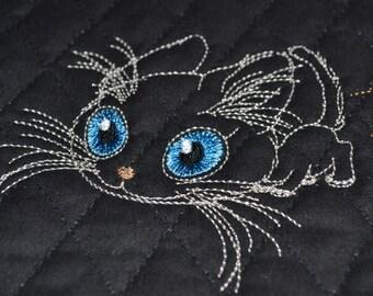 Siamese cat, machine embroidery design