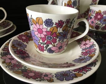 Elizabethan Portobello 2 coffee set ,1960s flower power, retro tea set