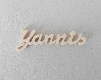 """Mini name wooden """"Yannis"""" 4.4 x 1.2 cm"""